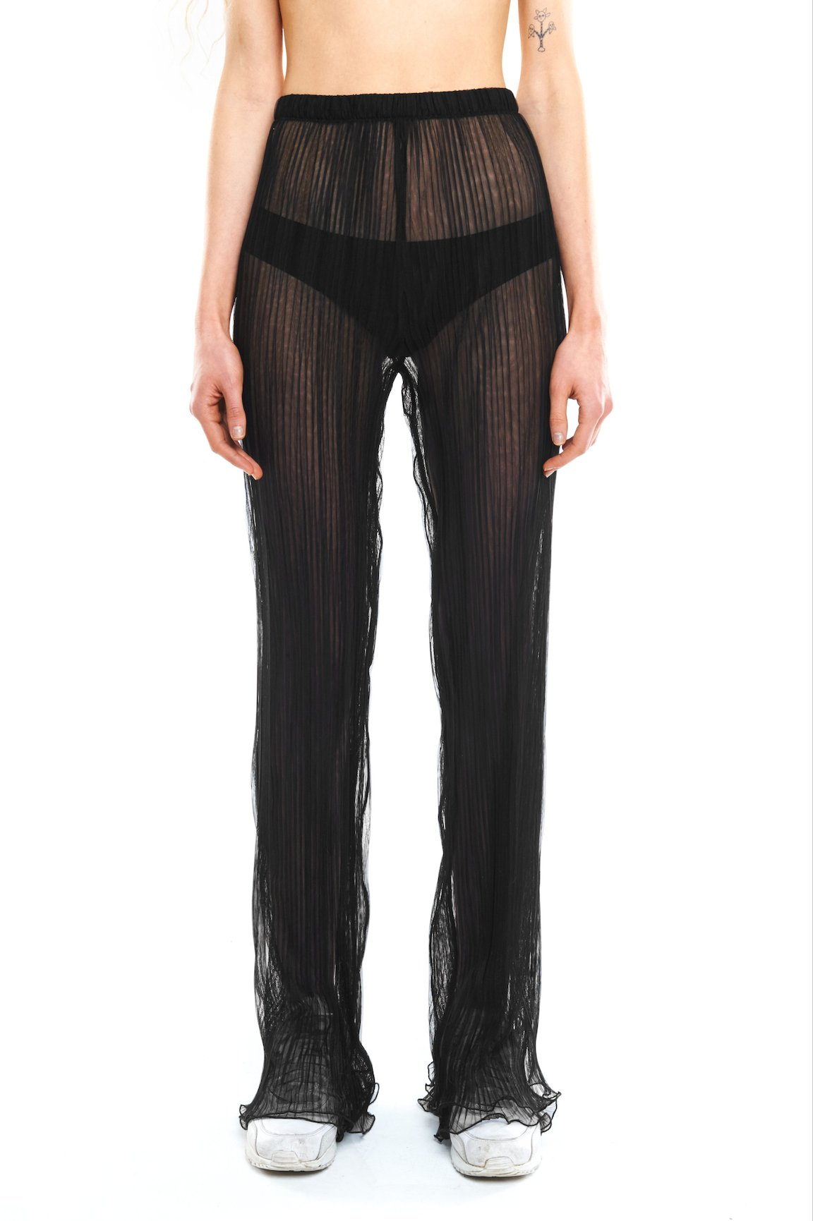 Cotton Pleated Seamless Trousers: Black