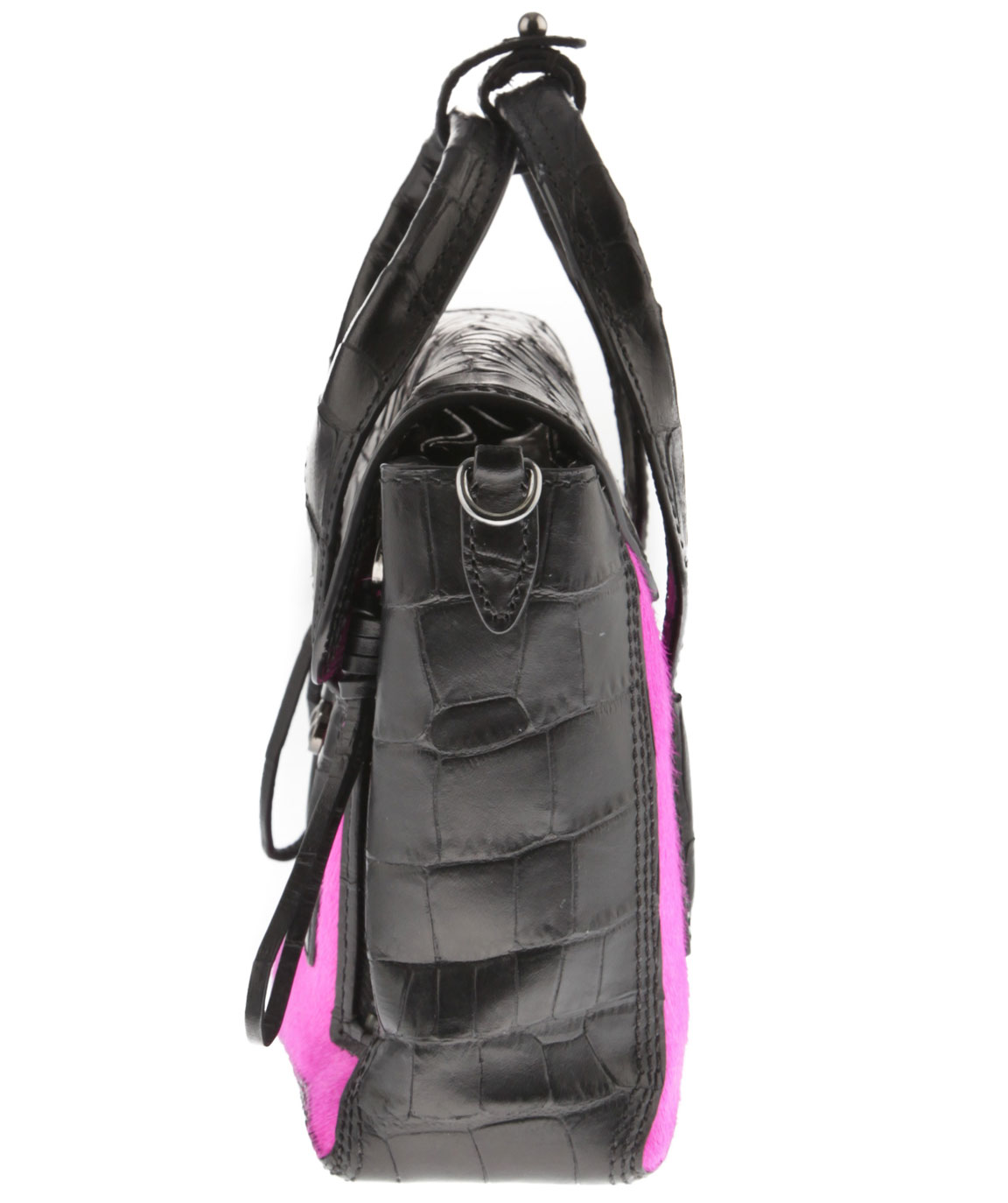 Mini Pashki in Black Leather with Pink Goat Skin Front