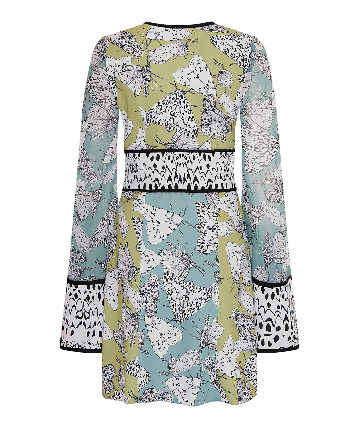 Ermine Moth Bell Sleeve Dress – Lime Green & Aqua