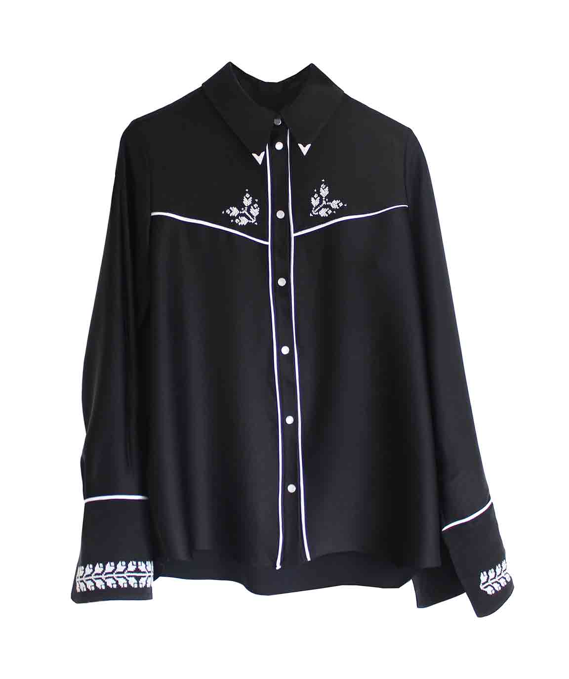 Black Embroidered Cowboy Shirt