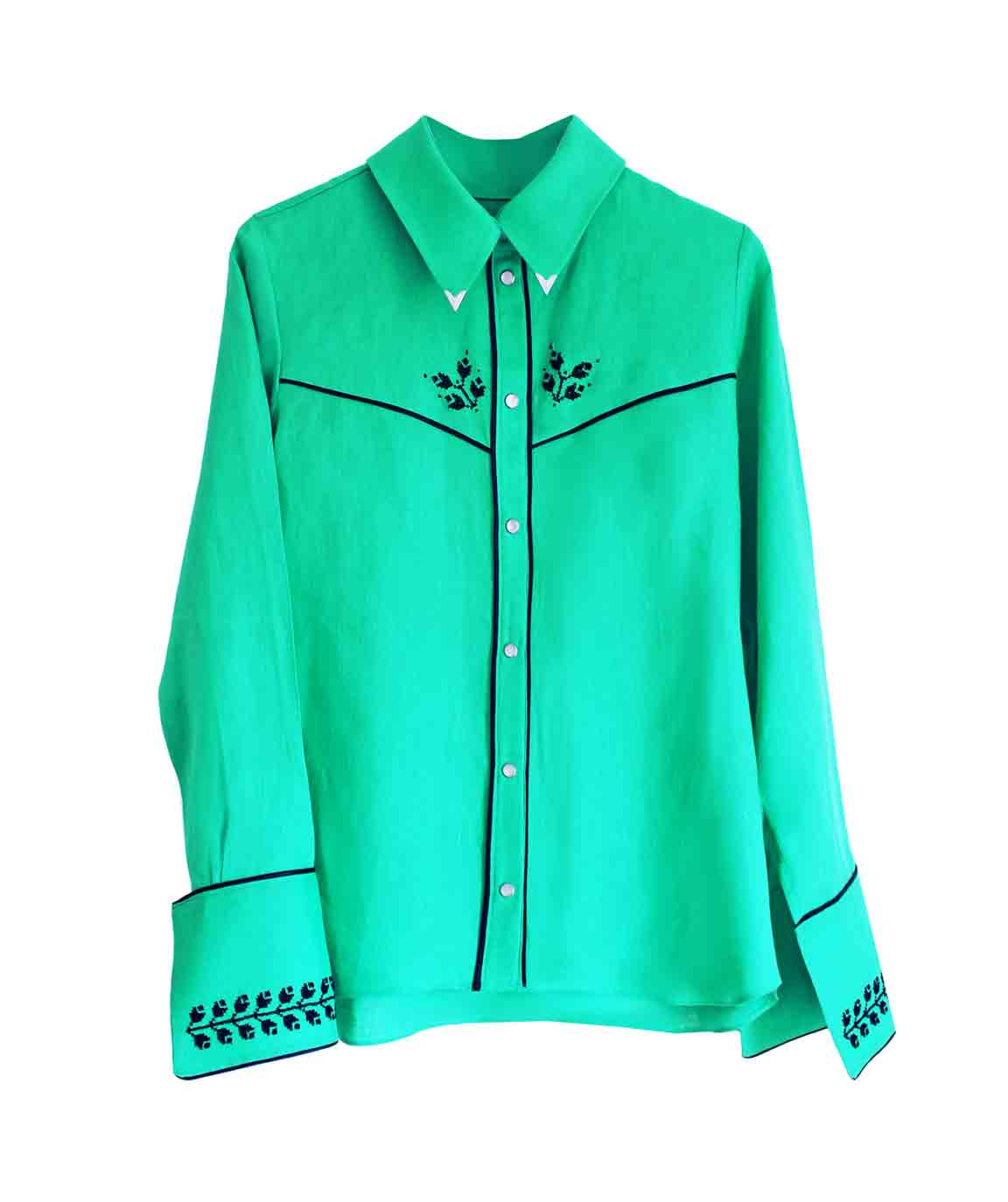 Jade Green Embroidered Cowboy Shirt