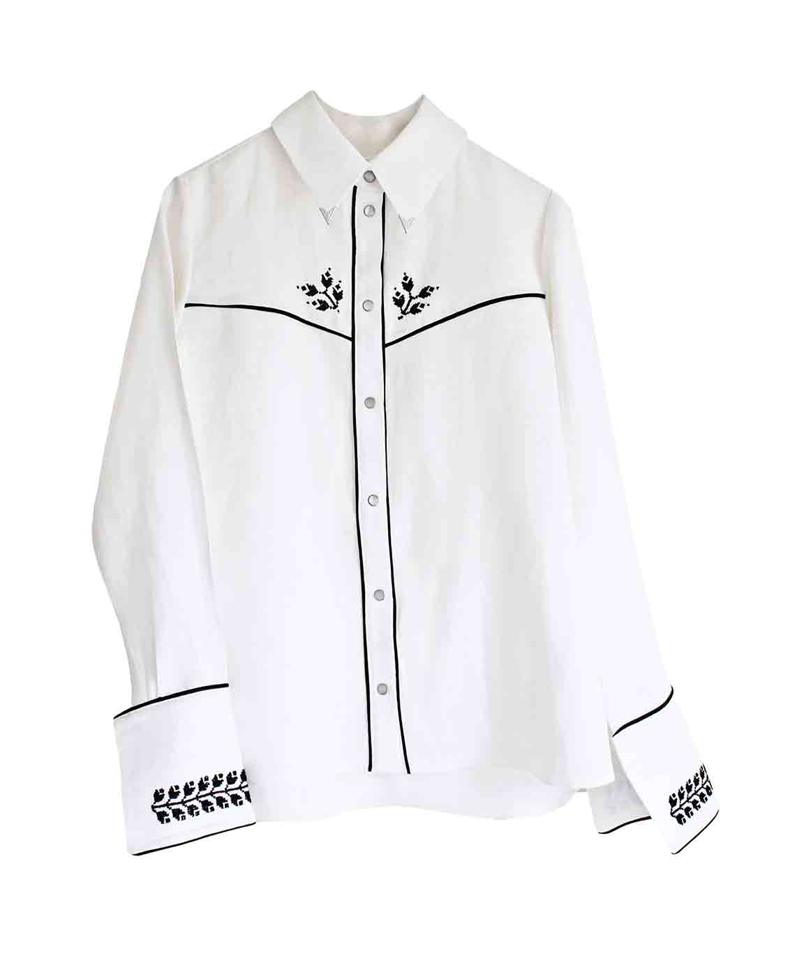 White Embroidered Cowboy Shirt
